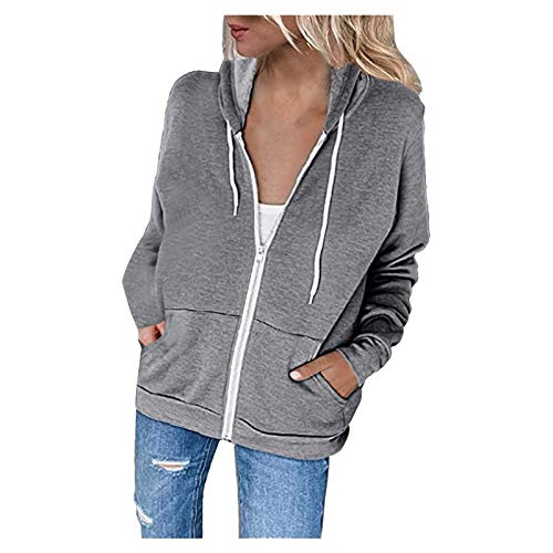 Janly Clearance Sale Womens Long Sleeve Tops Womens Hoodie Full Zip Long Sleeve Lightweight Sweatshirts Pockets Jacket Coat Women Plain Color Blouse for Easter Gifts Deal Gray M