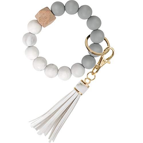 Key Ring Bracelet for Women, YUOROS Wristlet Keychain Bangle Gift for Girl(Marble)