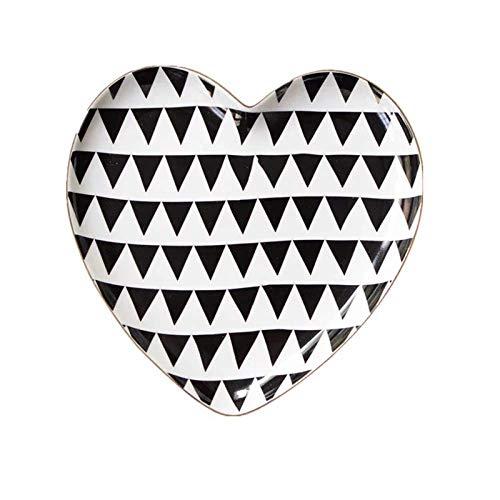 LYY Plato de cerámica Dorada Plato de Desayuno en Forma de corazón Blanco y Negro Plato de merienda de Frutas Vajilla Plato de Frutas secas Plato