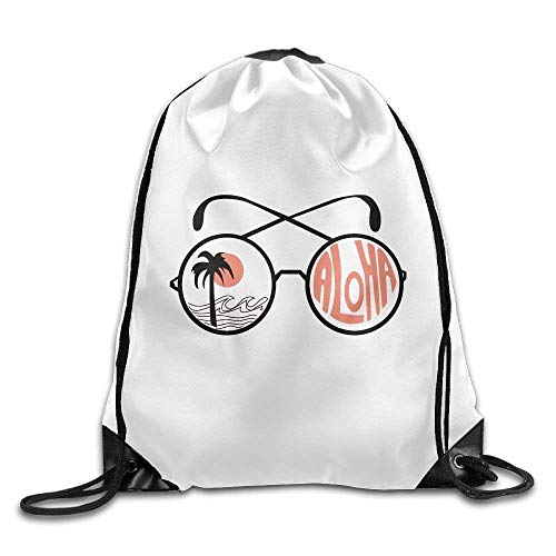 Etryrt Mochila de Cuerda,Bolsas de Gimnasia, Drawstring Bags Gym Bag Travel Backpack Funny Glasses Aloha Beach Style Canvas Drawstring Bag for Teen Kids 16.9x14.2