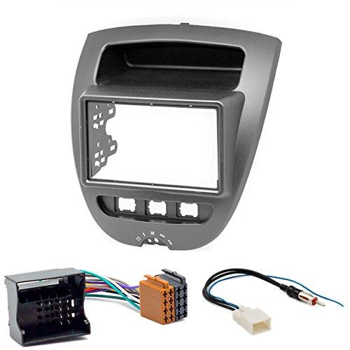 CARAV 11-167-26-11 Kit d'installation autoradio DIN Car de 2 dans Dash Set for pour Citroën C1 2005-2014/ Aygo 2005-2014/Peugeot (107) 2005-2014 + ISO and Antenna Adapter Cable