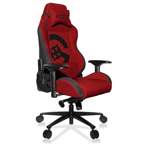 REKT ULTIM8 X Gamers Origin – Silla de oficina para videojuegos de tela premium – Inclinable a 180° – Reposabrazos 4D – Cojín ajustable para la nuca – Cojín lumbar – Soporta 150 kg