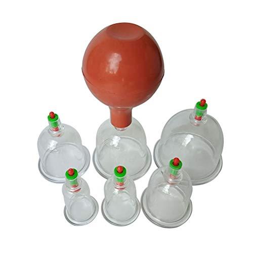 SUPVOX Taza de terapia de ahuecamiento china biomagnética con cuerpo de bola de goma Sistema de terapia de cura en casa para ahuecar 7pcs