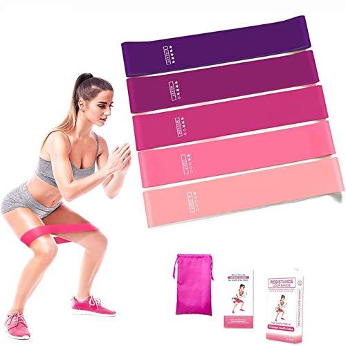 Bandas Elasticas Fitness, Bandas De Resistencia con 5 Niveles, Cintas Musculacion de Látex Natural Goma para Yoga, Crossfit,Entrenamiento de Fuerza,Pilates,Fisioterapia, para Glúteos, Piernas, Brazos