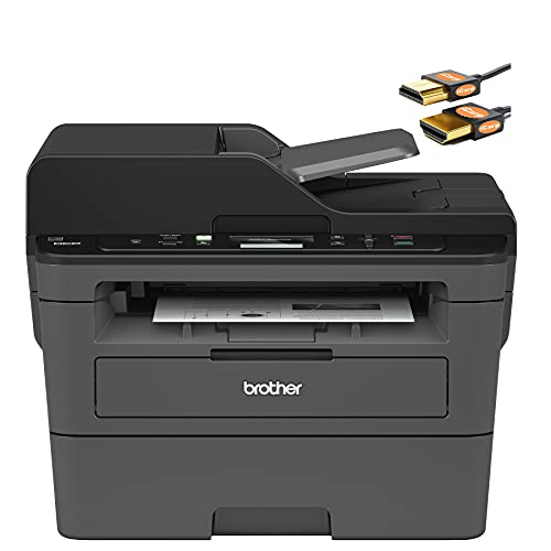 Brother DCP L2500 Series Wireless Monochrome All-in-One Laser Printer - Print Copy Scan - Mobile Printing - Auto Duplex Printing - Up to 36 ppm - Up to 250 Sheets/Tray - ADF + HDMI Cable