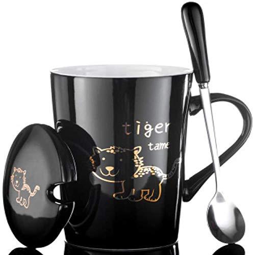 Taza taza de taza de café taza de café 12 muestra animal opcional creativo creativo creativo taza de cerámica pareja taza taza de dibujos animados cuchara con tapa de leche L 420ml ( Color : 12 )