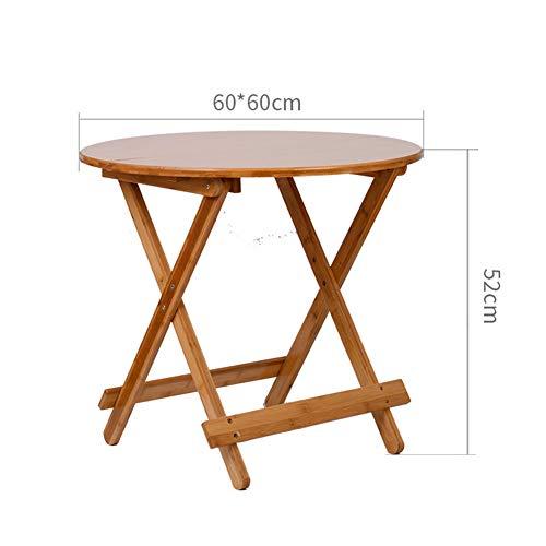 KSUNGB Mesa plegable simple redonda de bambú, multifunción, mesa de comedor para ordenador portátil, soporte de aprendizaje 60*60*52cm Mesa