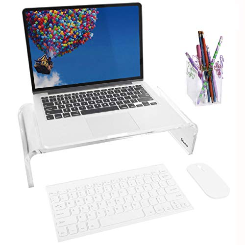 OFFICE1ST Acrylic Monitor Stand Monitor Riser Computer Stand Storage Support Laptop Riser, Printer, TV Screen Stand, Free Pencil Holder(Small)