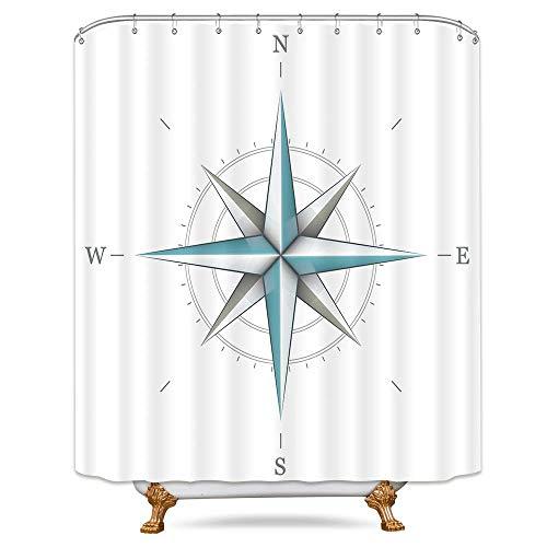 JOOCAR Design Duschvorhang, Kompass, nautische Richtung, Marine-Instrument, weißer Wind, Rose, Erde, Illustration, Dekor, wasserdichter Stoff, Badezimmer-Dekor-Set mit Haken