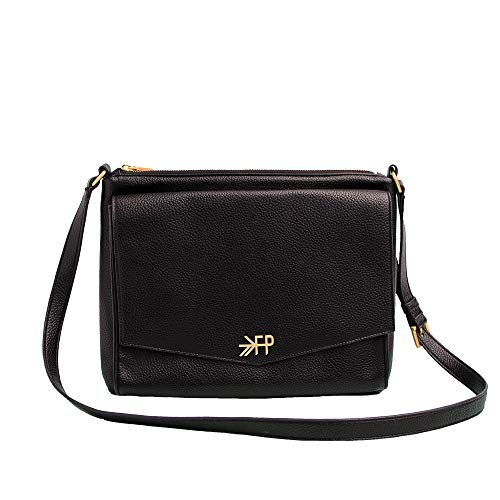Freshly Picked - Classic Crossbody Bag - Stylish 6 Pocket Wipeable Vegan Leather Purse Diaper Bag - Ebony Black