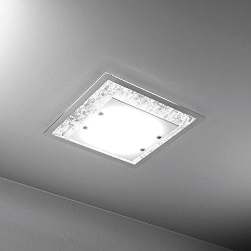 Plafoniera da soffitto moderna BRICKA 45 cm Lampadario moderno 2 Luci in vetro satinato Foglia Argento soggiorno, cucina, bagno