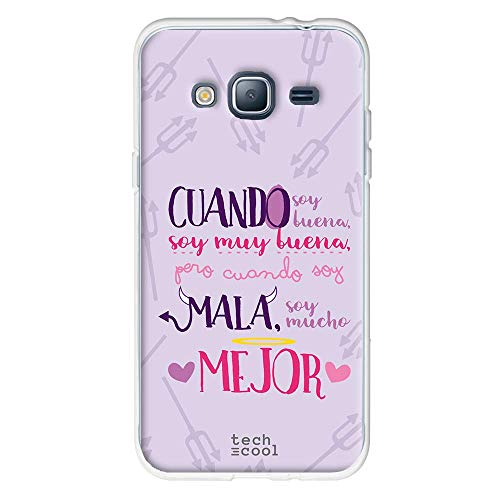 Funnytech Funda Silicona para Samsung Galaxy J3 2016 [Gel Silicona Flexible, Diseño Exclusivo] Frase Divertida Cuando Soy Buena Fondo Morado