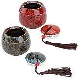 Cabilock Juego de 2 latas de té de porcelana con tapa, estilo chino, vintage, para té, café, azúcar, especias, cocina