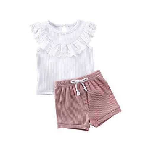 Sunnymi - Set di abbigliamento estivo per bambine da 0 a 5 anni, con maglietta in pizzo e pantaloncini a maglia bianco 2-3 Anni