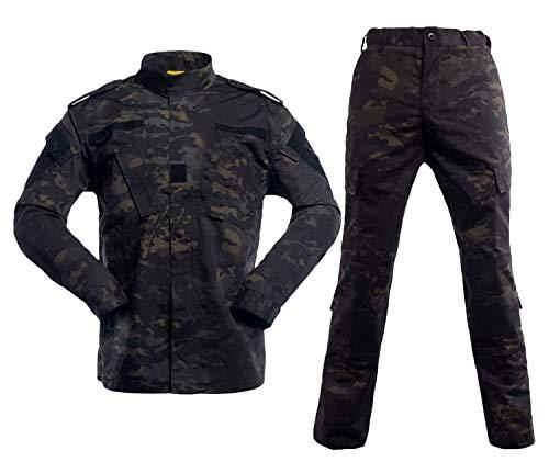 LANBAOSI Herren Taktische Jacke und Combat Hose Set Camo Woodland Jagd ACU Military Uniform Gr. M, Schwarz-Cp