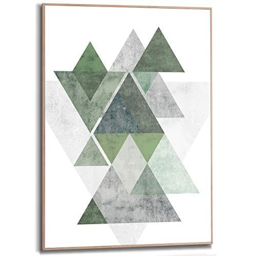 REINDERS Geometrie Design Gerahmtes Bild - Holzwerkstoff - 50 x 70 cm - Grün