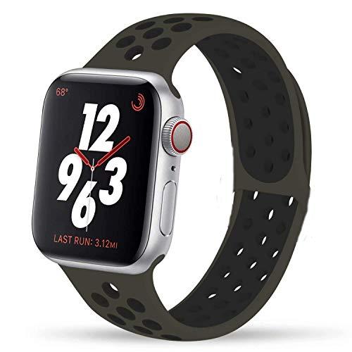 VIKATech Compatible con Apple Watch Correa 44mm 42mm, Correa Deportiva Reemplazo clásico de Silicona Suave Transpirable para iWatch Series 5/4/3/2/1, S/M, Olive Flak/Negro