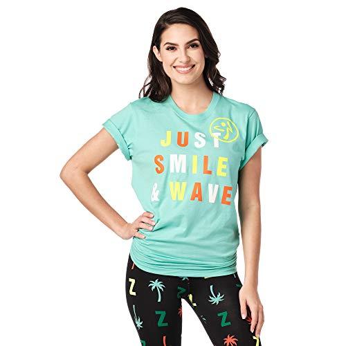 Zumba Damen Zumba Active Fitness Unisex Workout T Shirts Printed Graphic Gym Tops für Frauen und Männer T-Shirt Medium/Large Bahama Blue