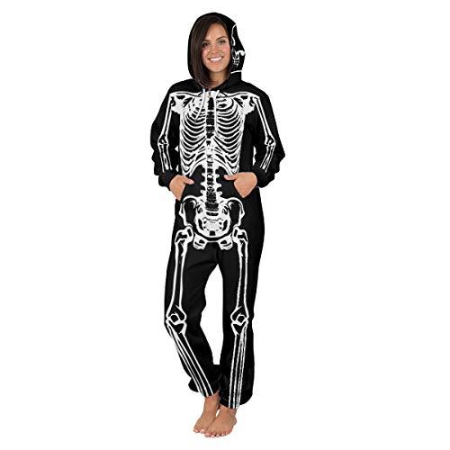 Leezeshaw Kapuzen-Onesie mit langem Arm, Overall, unisex, 3D, Superhelden-Einteiler, Spider Man-Pyjama, Nachtwäsche, Kostüm Gr. M, Weißes Skelett
