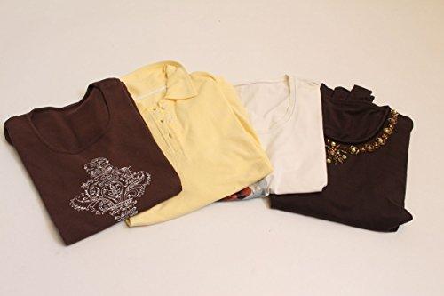vintage13.de 4 Oberteile T-Shirt Longsleve Polo Shirt Weiß Gelb Braun Gr. 42