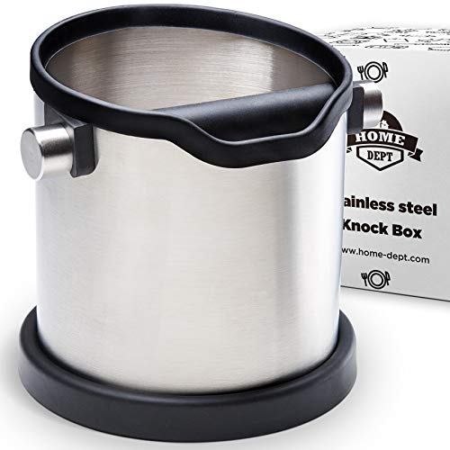 HOME DEPT Espresso knock box large and coffee grounds container. Stainless steel espresso machine accessories. Shock-absorbent knock bar with silicone cover for easy coffee ground disposal.