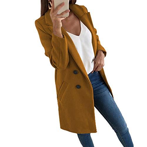 Women's Autumn Winter Jackets Office Blazer Jacket Stylish Middle Long Coat (Camel, Large)