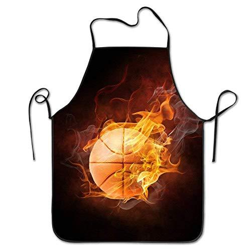 N\A Flaming Basketball Art verstellbare Schürze für Küche BBQ Barbecue Kochen Frauen Männer großes Geschenk für Frau Damen Männer Freund