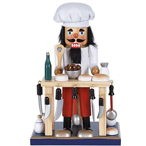 OBC-Kunsthandwerk Nussknacker Erzgebirge Stil Koch mit Tisch weiß / 24 cm/weihnachtlicher Nussknacker/handbemalte Deko Figur aus Holz/weihnachtlich dekorieren