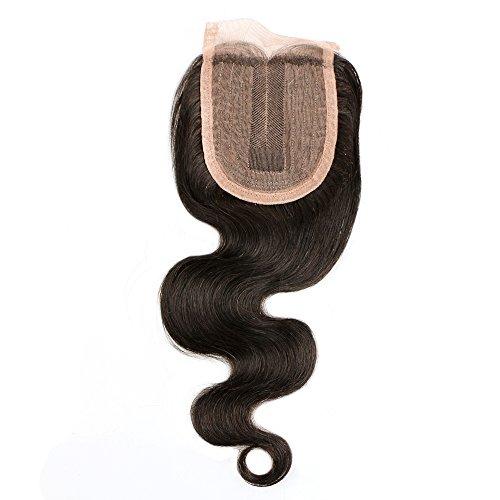 """BLISSHAIR Top Lace Closure Middle Part 3.5"""" x 4"""" Bresilien Vierges Extensions de Cheveux Humains Noir Naturels Body Wave 8"""""""
