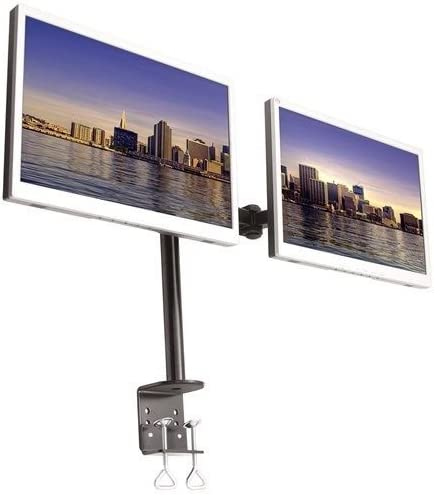 Horizontal Dual-Monitor Double LCD Dual Desk Mount Stand Heavy Duty Adjustable