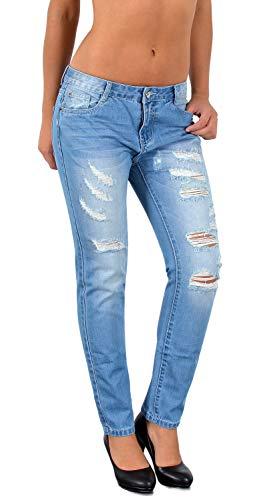 ESRA Damen Jeans Jeanshose Damen Skinny Stretch High-Waist Destroyed Risse Jeans Hose bis Übergröße S600