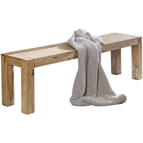 WOHNLING Esszimmer Sitzbank Massiv-Holz Akazie 140 x 45 x 35 cm Design Holz-Bank Natur-Produkt Küchenbank Landhaus-Stil dunkel-braun Bank 3-Sitzer für innen ohne Rücken-Lehne Echt-Holz unbehandelt