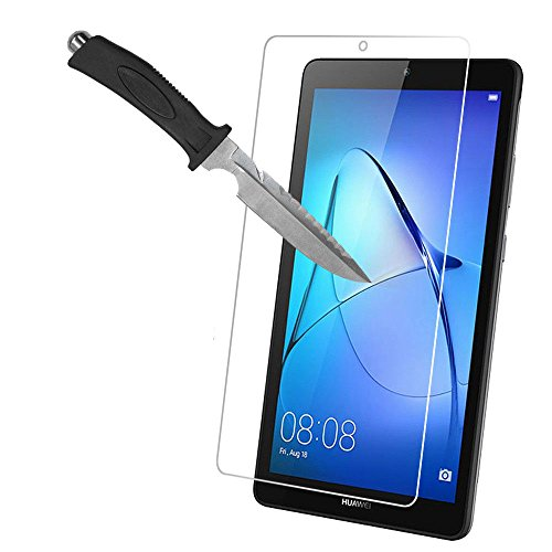 Huawei Mediapad T3 7.0 screen protector - Mobile Stuff Clear Tempered Glass Screen Protector for Huawei Mediapad T3 7.0 (7' Inch) with 9H Hardness/Scratch Resist, Ultra Clear Glass