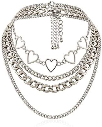 tenghong2021 Silver Layered Choker Necklace Simple Hearts Necklace Lolita Choker Chain Detachable product image