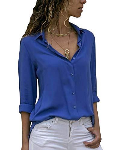 Blusa Donna con Collo V Maglietta Maniche Lunghe Casual Tinta Unita Chiffon Sexy Ufficio Camicetta Elegante Top T Shirt Primave