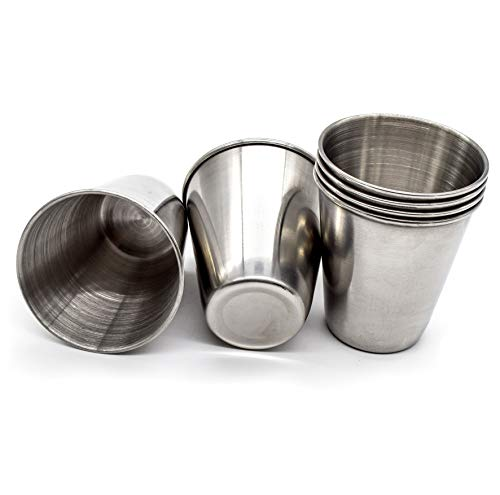 AUEAR, Stainless Steel Shot Glass Espresso Shot Cups Barware Drinking Vessel for Bar Home Restaurant (2 Oz, 6 Pcs)