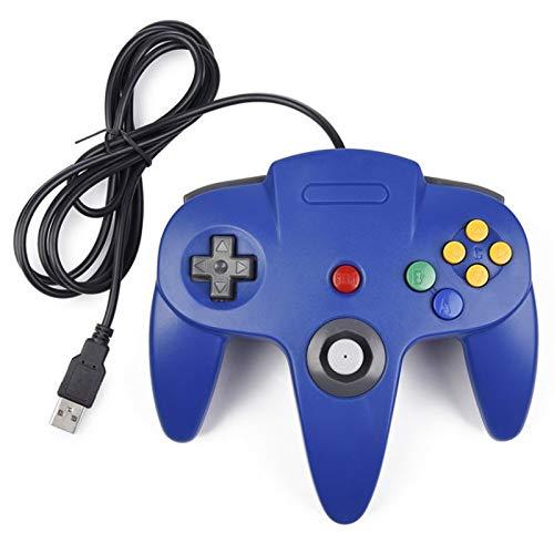 miadore Retro USB Controller für N64 Spiele, N64 Classic USB Controller Gamepad Joystick, Game Controller für N64 System Raspberry Pi/Windows/Mac/Linux, Blau