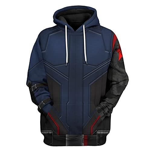 LGYCB Disfraz de Vengadores con estampado 3D para cosplay de invierno con capucha, sudadera con capucha con estampado de superhéroes con bolsillos para hombres, soldado de invierno y adultos (S)