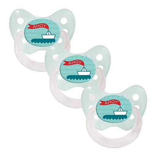 Dentistar Silikon Schnuller im 3er-Set – Größe 2 6-14 Monate – Zahnfreundlicher und kiefergerechter Silikonschnuller mit Dental-Stufe – Grün mit Ahoi-Boot Motiv – BPA-frei – Made in Germany