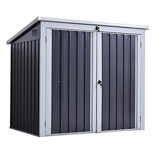 Outsunny 5ft x 3ft Garden 2-Bin Corrugated Steel Rubbish Storage Shed w/Locking Doors Lid Outdoor Hygienic Dustbin Unit Garbage Trash Cover