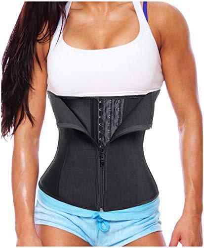 Gotoly Women Latex Waist Trainer Corset Zipper Underbust Cincher Belt Weight Loss Body Shaper (Black, XL Fits US 18)