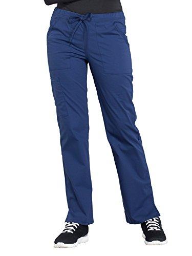 CHEROKEE Workwear WW Professionals Mid Rise Straight Leg Drawstring Pant, WW160, S, Navy