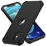 ORETECH Funda Compatible con iPhone 12 Mini, con [2X Protector de Pantalla de Vidrio Cristal Templado] 360 Anti-Arañazos Delgado Silicona TPU Hard PC Carcasa Case Caso para iPhone 12 Mini 5.4'-Negro
