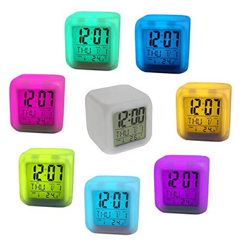 Megaprom Digital LED Würfelwecker Wecker Digitaluhr Uhr mit Kalender Thermometer Alarmfunktion Wecker mit 7 Farbwechsel