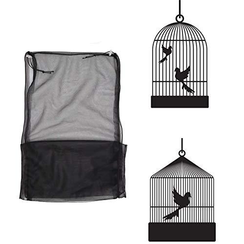 NXL 2 Piezas Funda para Jaula Pajaro Cubierta De Malla 95-190 * 33 Cm / 37,4-74,8 * 12,99 Pulgadas para Jaula Aves Suave Ajustable Protector Falda Jaula