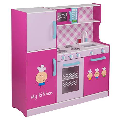 FROGGY Kinderküche aus Holz in Pink | Mit vielen Spielemöglichkeiten | Mikrowelle, Kühlschrank, Spüle und Herd | Holzküche Spielküche | Platzsparend, auch für kleine Wohnungen geeignet
