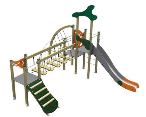 Loggyland Spielturm MODERN IV mit Brücke, Rutsche, Rampe und Kletterwand - für öffentliche Spielplätze & Einrichtungen