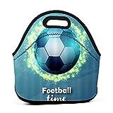 ADONINELP Bolsa de almuerzo,bolsa portátil para Bento,tiempo de fútbol azul,paquete de neopreno con cremallera para la escuela,el trabajo,la oficina,el bolso de viaje
