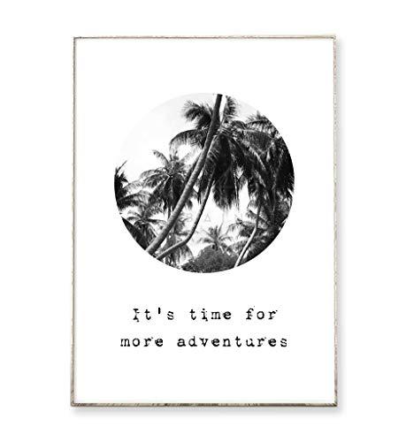 DIN A4 Kunstdruck Bild Poster MORE ADVENTURES -ungerahmt- Typografie, Palmen, tropisch, Natur, Kreis, vintage