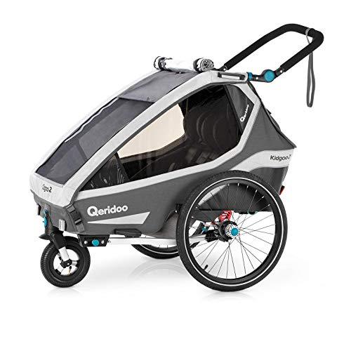 Qeridoo Kidgoo 2 (2020) Kinderfahrradanhänger, Fahrradanhänger 2 Kinder - Grau